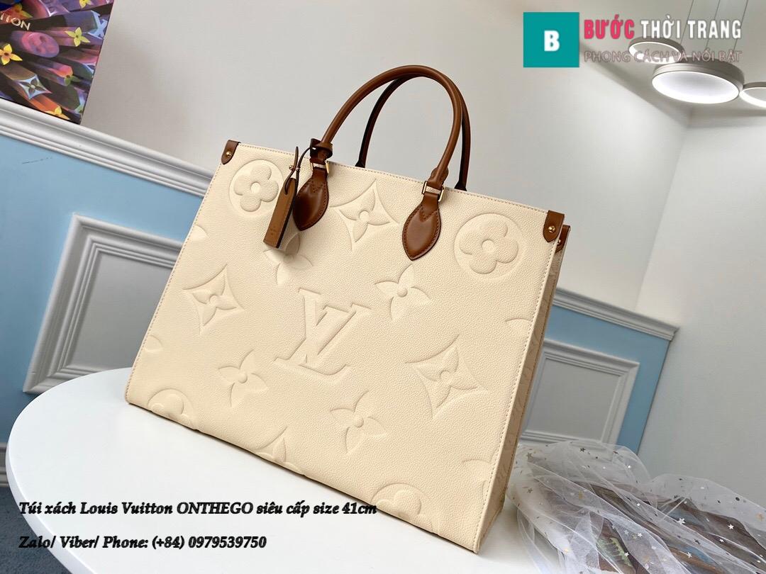 Túi xách Louis Vuitton ONTHEGO siêu cấp màu kem size 41cm – M44576 (1)