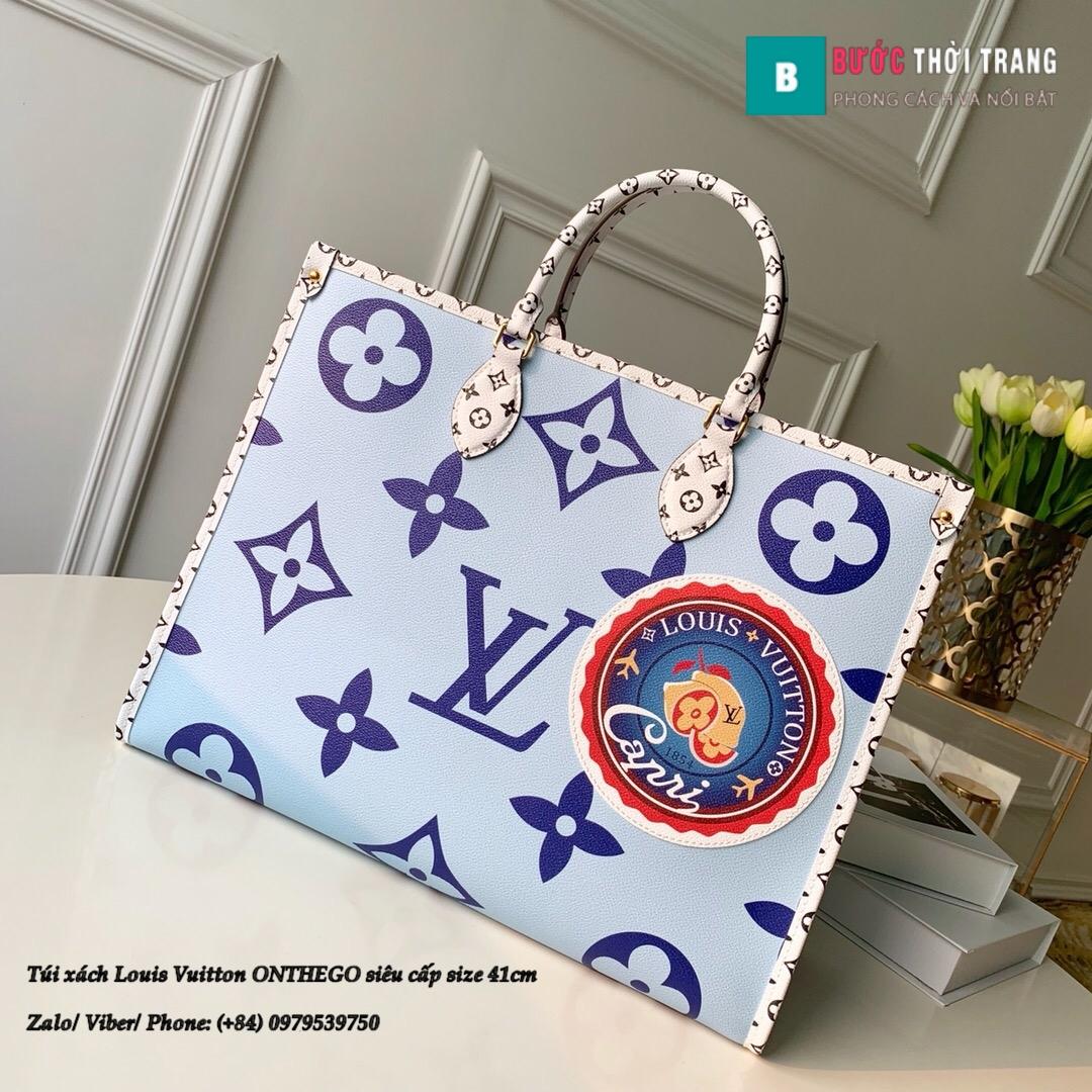 Túi xách Louis Vuitton ONTHEGO siêu cấp màu xanh size 41cm (1)